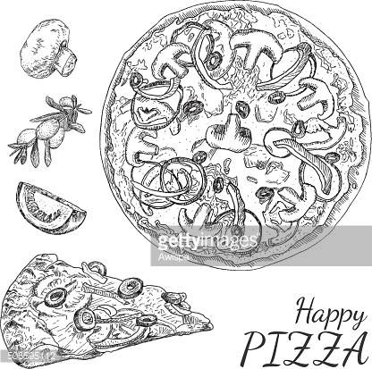 Ink hand drawn happy pizza