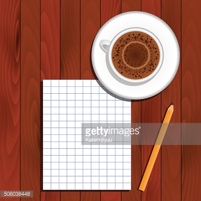Cappuccino, piece of paper, pencil on table, top