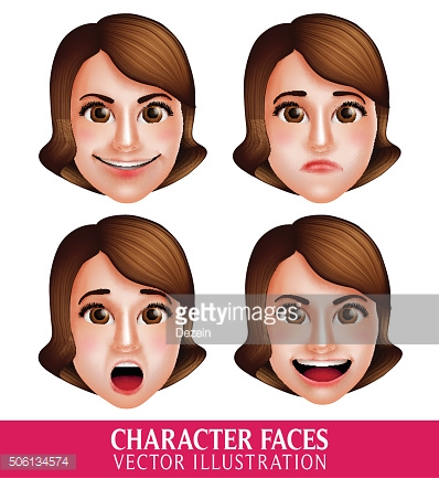 Vector Face of Woman Head Character with Facial Expressions