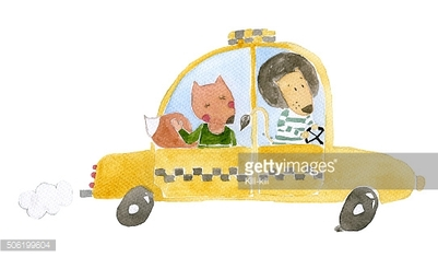 Taxi watercolor illustration