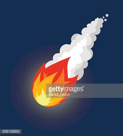 Flying Meteor. Fireball with smoke. Flying Comet in sky.