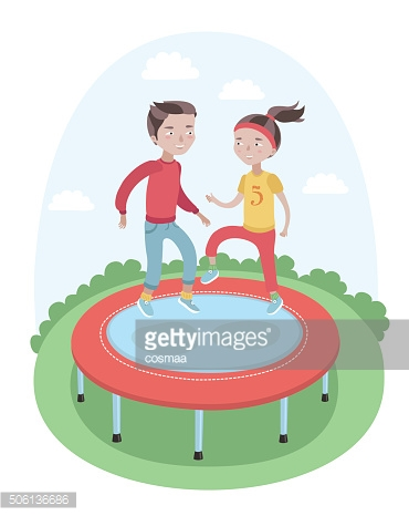 Girl And Boy Are Jumping On The Trampoline