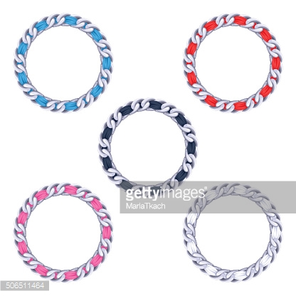 Silver chains with colorful fabric ribbon vector frames set