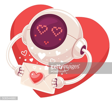 Vector illustration of robot with envelope and red heart