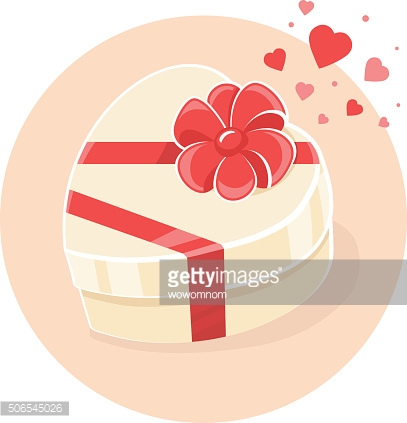 Vector illustration of gift box in heart shape on light