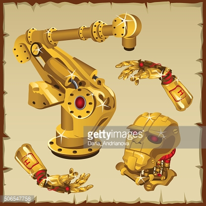 Set of the golden robot parts, arm, head and other