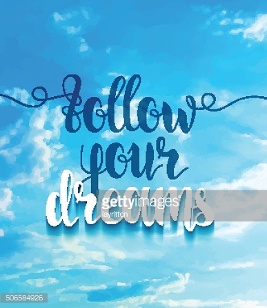 Background with realistic clouds and calligraphic motivational phrase