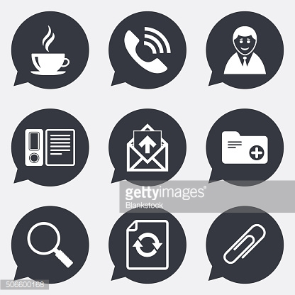 Office, documents and business icons.