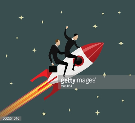 Happy businessmen flying on a rocket