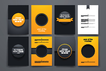 Vector brochures with doodles backgrounds on Chinese New Year theme