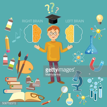 Schoolboy studying left and right brain concept vector