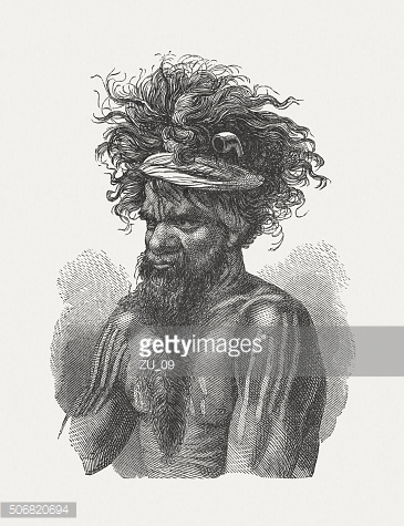 Aboriginal Australians, wood engraving, published in 1882