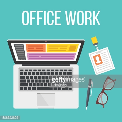 Office work flat illustration. Top view. Creative vector illustration