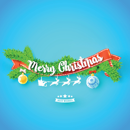 Merry Christmas greeting card with red ribbonm, xmas tree and