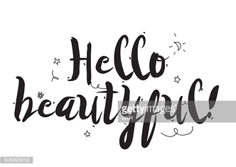 Hello beautiful. Greeting card with calligraphy. Hand drawn design elements
