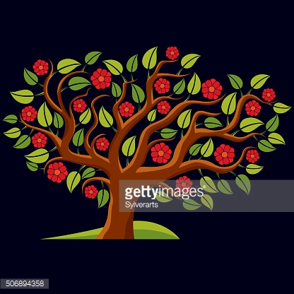 Vector illustration of spring branchy tree with beautiful blossom