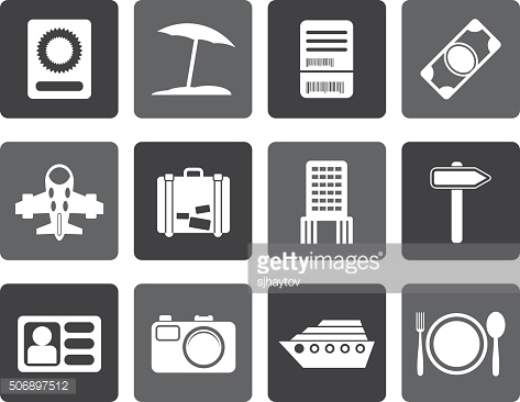 Flat travel, trip and holiday icons