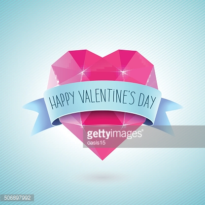 Valentines Day Greeting Card. Diamond heart shape with ribbon