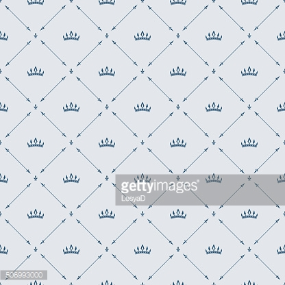 Royal wallpaper seamless pattern, crown and decorative elements. Luxury background