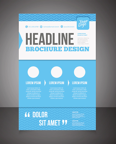 Blue business brochure or offer flyer design template.