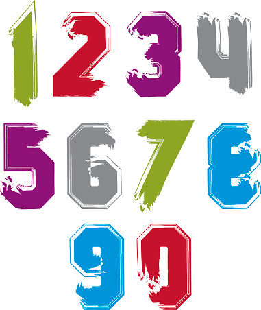 Stroked bright numbers set drawn with real ink brush, vector