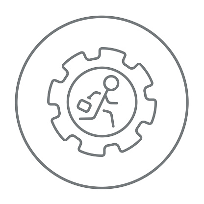 Man running inside the gear line icon