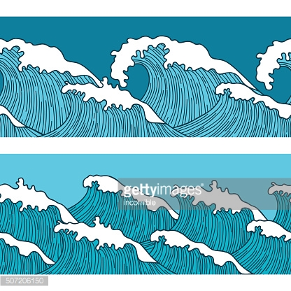 Sea seamless pattern with abstract  hand drawn waves. Background for