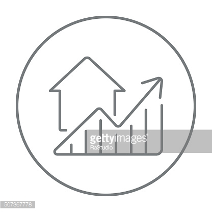 Graph of real estate prices growth line icon