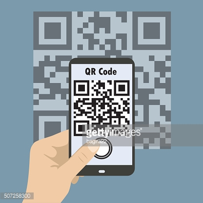 Smartphone concept with a qr code scanning