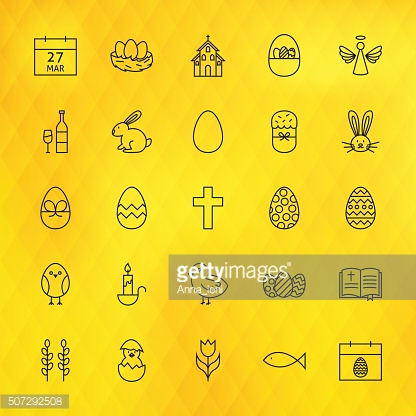 Happy Easter Line Icons Set over Polygonal Background
