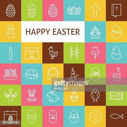 Vector Line Art Happy Easter Icons Set