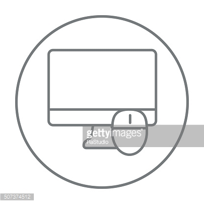 Computer monitor and mouse line icon