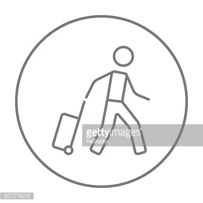 Man with suitcase line icon
