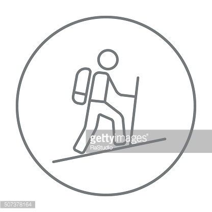 Tourist backpacker line icon