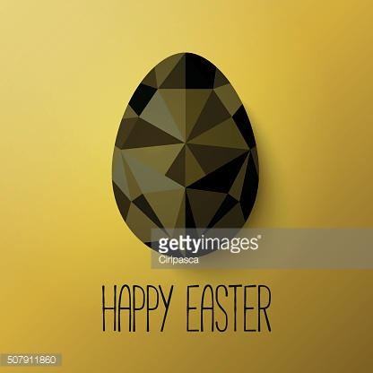 Flat design polygon egg isolated on gold background.