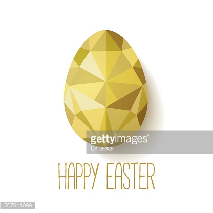 Happy Easter greeting card in low poly triangle style.