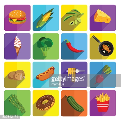 Modern fast food and vegetables vector icon set