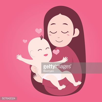 Mother holding cute baby