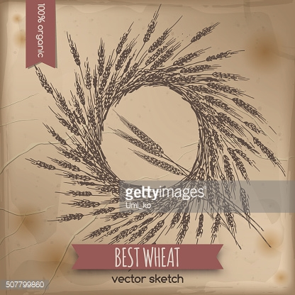 Vintage wheat wreath template placed on old paper background.