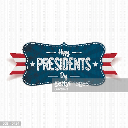 Happy Presidents Day Text on vintage blue Banner