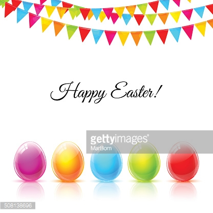 Happy Easter greeting card with glass colorful eggs and flags