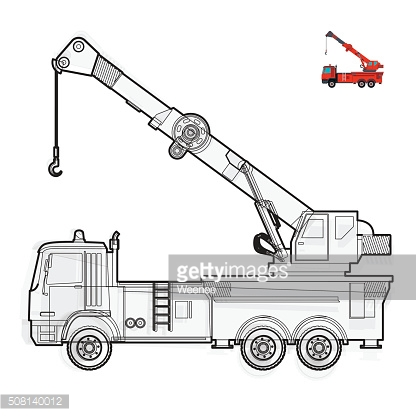 Black and white wire big crane with hook on white