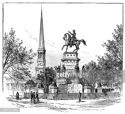 Antique illustration of Statue of Washington in Richmond