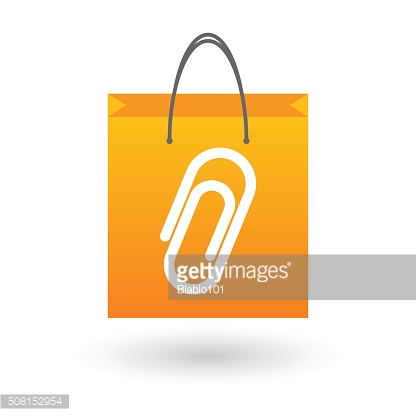 Shopping bag with a paper clip