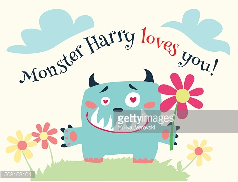 Cute romantic cartoon card with lovely monster.