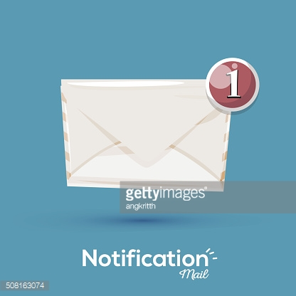 envalope with notification alert icon. typographic - vector