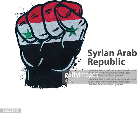 fist.  flag Syria. vector illustration