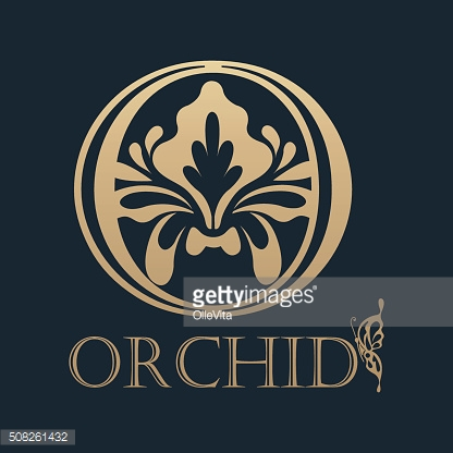 Calligraphic design element. Golden logo