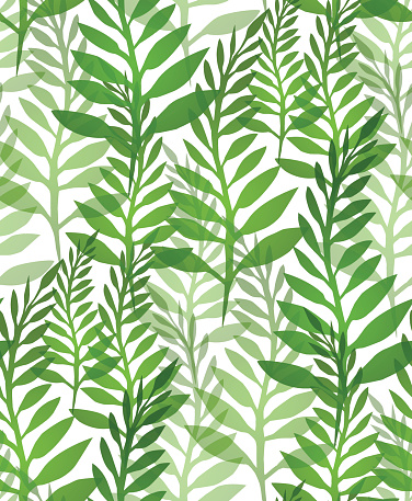 Seamless texture with plants and ferns.