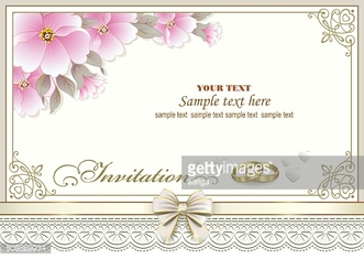 Wedding invitation card with rings and flowers